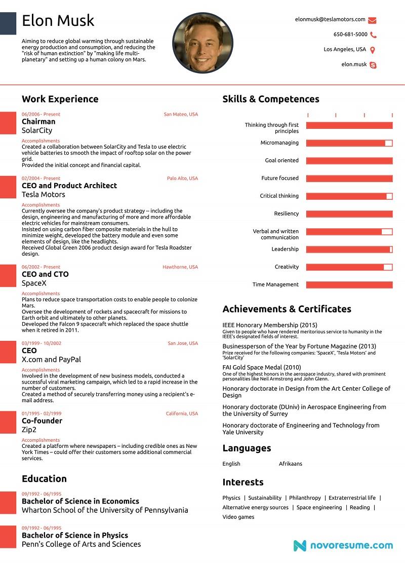 Elon Musk One Page Resume