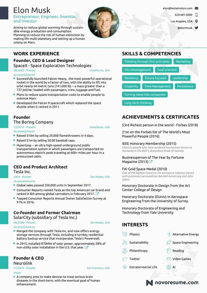 elon musk resume template